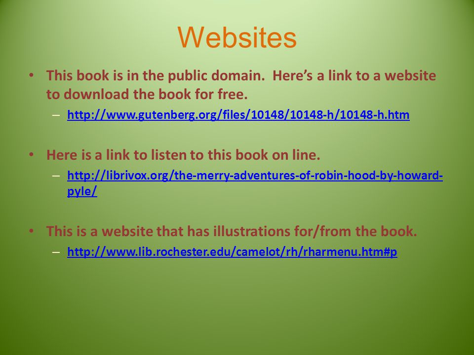 Websites This book is in the public domain.