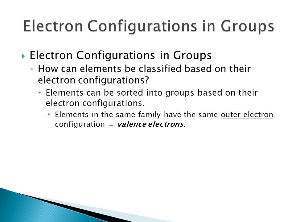  Electron Configurations in Groups ◦ How can elements be classified based on their electron configurations?  Elements can be sorted into groups base