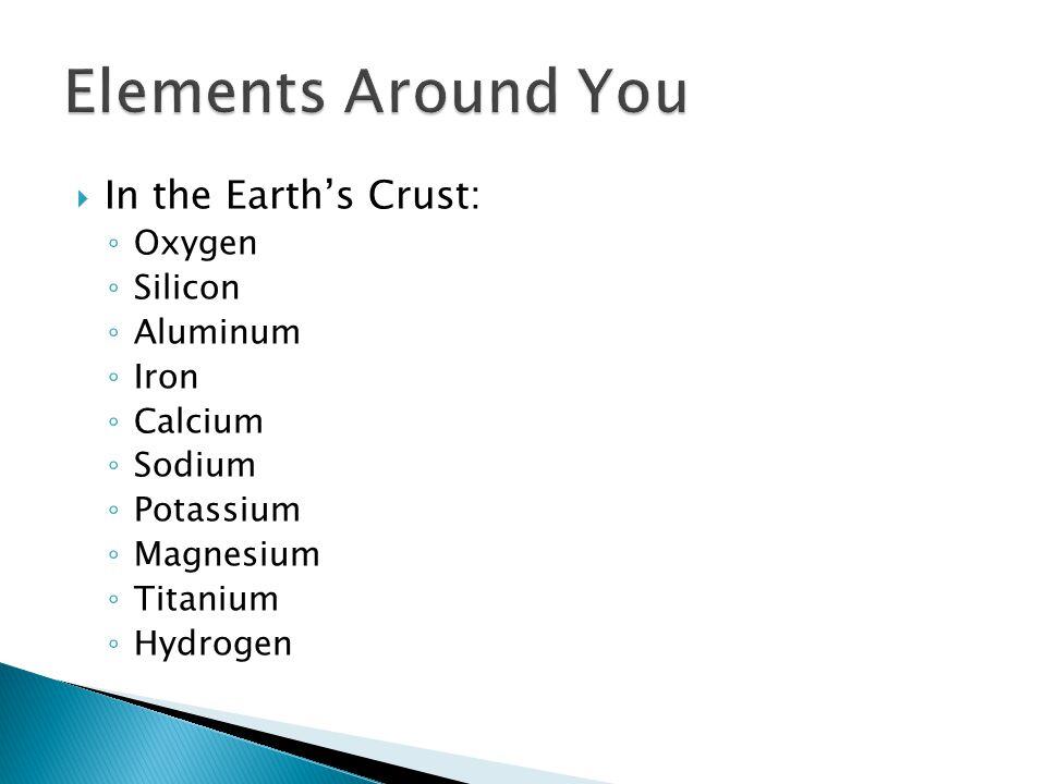  In the Earth's Crust: ◦ Oxygen ◦ Silicon ◦ Aluminum ◦ Iron ◦ Calcium ◦ Sodium ◦ Potassium ◦ Magnesium ◦ Titanium ◦ Hydrogen