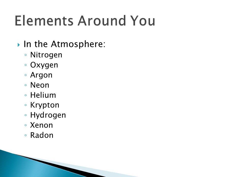  In the Atmosphere: ◦ Nitrogen ◦ Oxygen ◦ Argon ◦ Neon ◦ Helium ◦ Krypton ◦ Hydrogen ◦ Xenon ◦ Radon