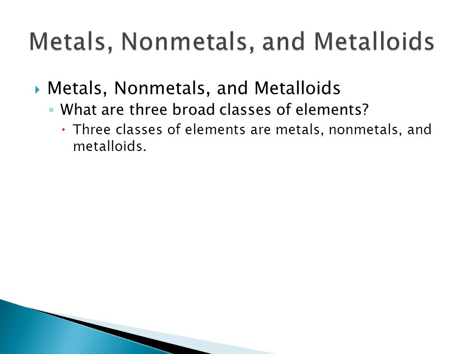  Metals, Nonmetals, and Metalloids ◦ What are three broad classes of elements?  Three classes of elements are metals, nonmetals, and metalloids. 6.1