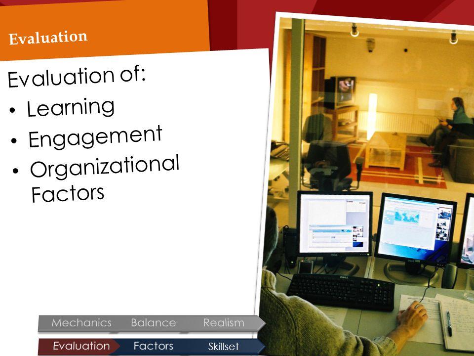 Evaluation Evaluation of: Learning Engagement Organizational Factors Skillset