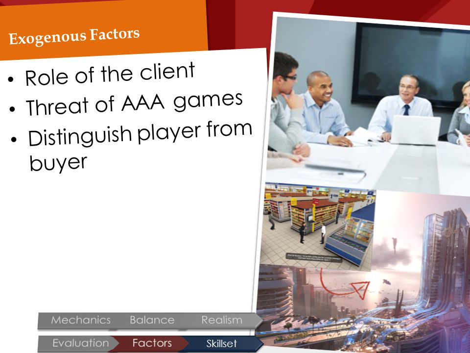 Exogenous Factors Role of the client Threat of AAA games Distinguish player from buyer Skillset