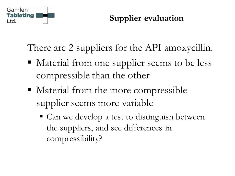 Supplier evaluation There are 2 suppliers for the API amoxycillin.