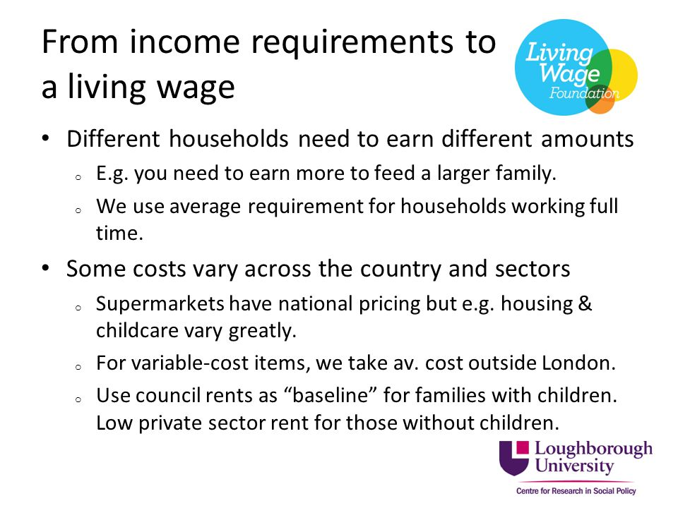 What the Living Wage represents A baseline below which households outside London cannot generally afford an acceptable living standard, even if they work full time.