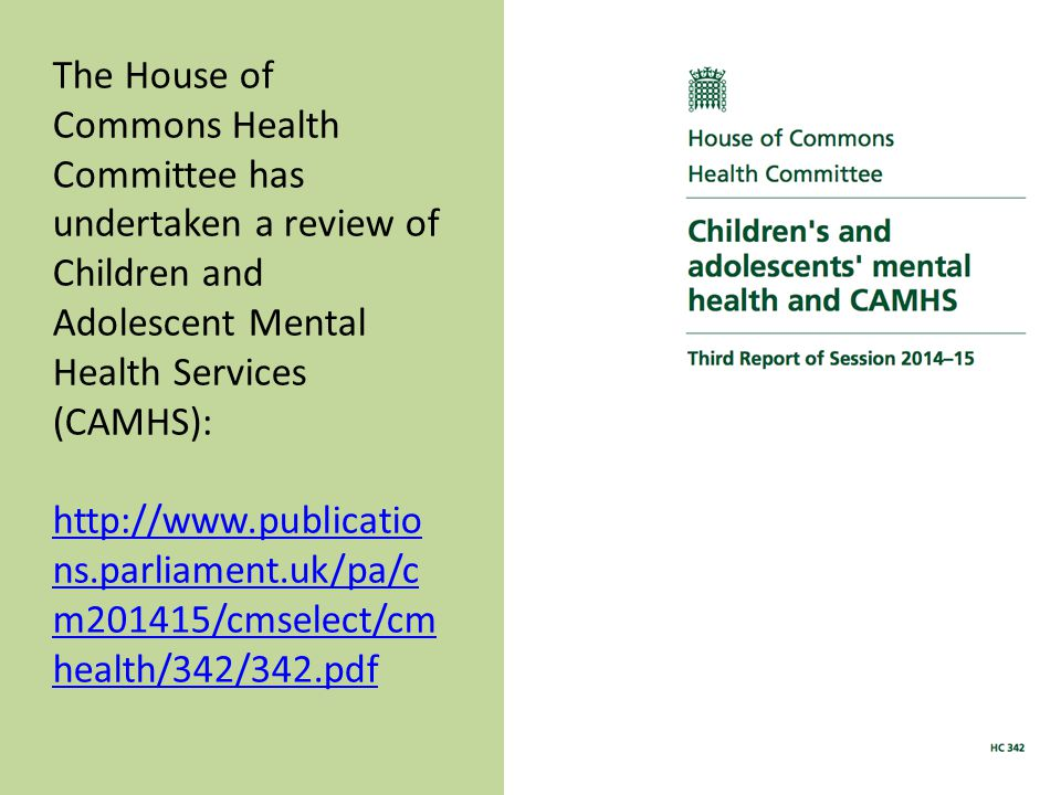 The House of Commons Health Committee has undertaken a review of Children and Adolescent Mental Health Services (CAMHS): http://www.publicatio ns.parliament.uk/pa/c m201415/cmselect/cm health/342/342.pdf