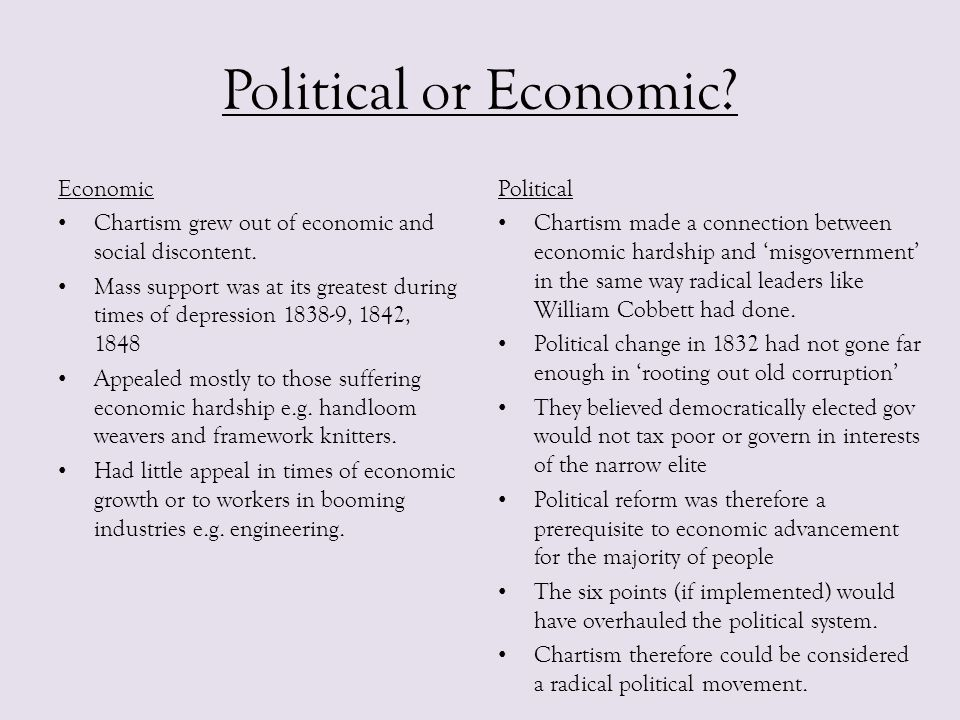 Political or Economic? Economic Chartism grew out of economic and social discontent. Mass support was at its greatest during times of depression 1838-