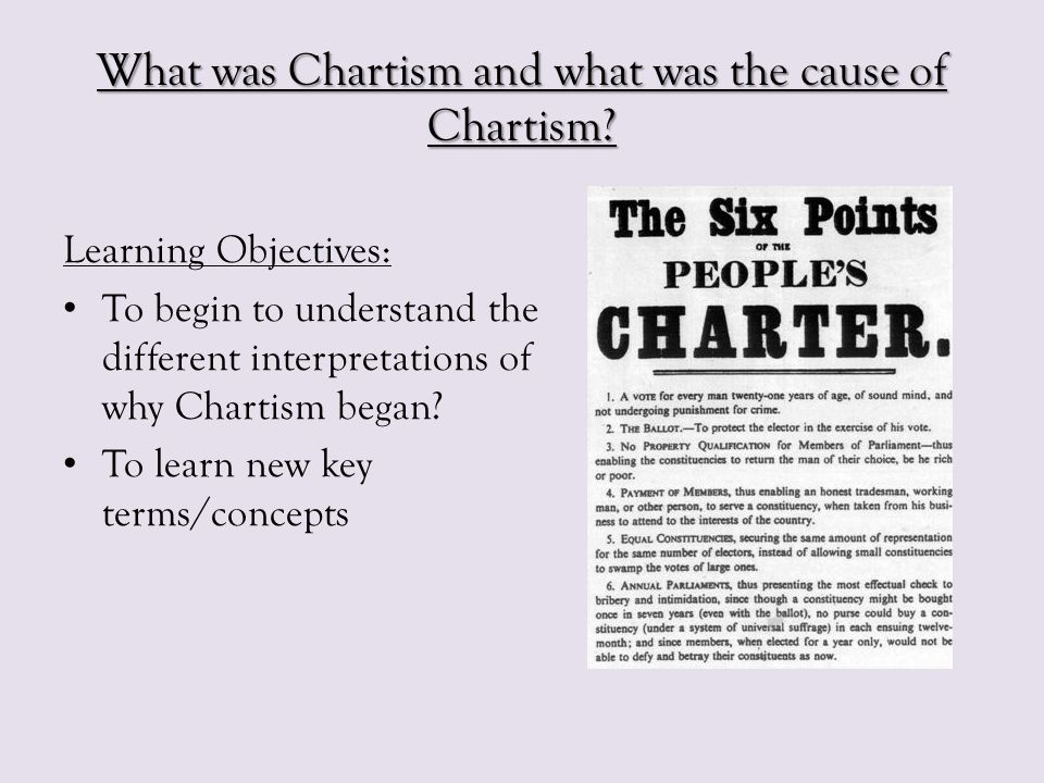 The Progress of Chartism What happened?