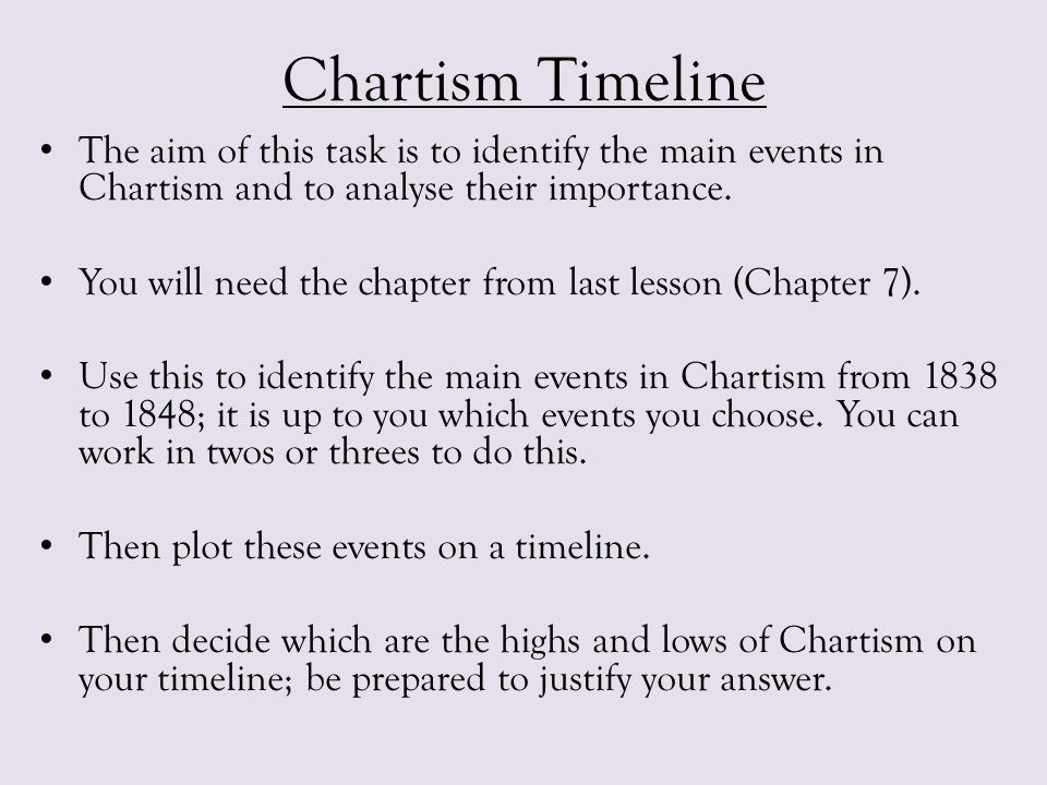 Chartism Timeline The aim of this task is to identify the main events in Chartism and to analyse their importance. You will need the chapter from last
