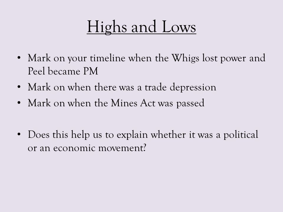 Highs and Lows Mark on your timeline when the Whigs lost power and Peel became PM Mark on when there was a trade depression Mark on when the Mines Act