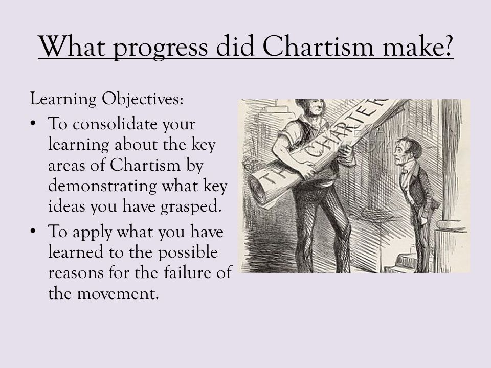 What progress did Chartism make? Learning Objectives: To consolidate your learning about the key areas of Chartism by demonstrating what key ideas you