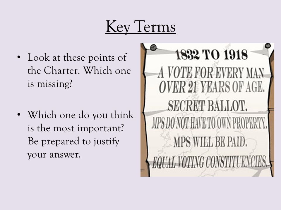 Chartism - Causes What do you already know about the Reform Act that might explain the Causes of Chartism.