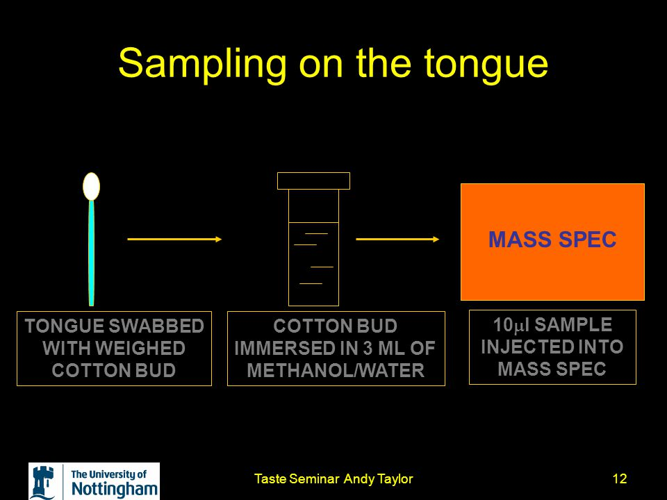 Taste Seminar Andy Taylor12 Sampling on the tongue TONGUE SWABBED WITH WEIGHED COTTON BUD COTTON BUD IMMERSED IN 3 ML OF METHANOL/WATER MASS SPEC 10 