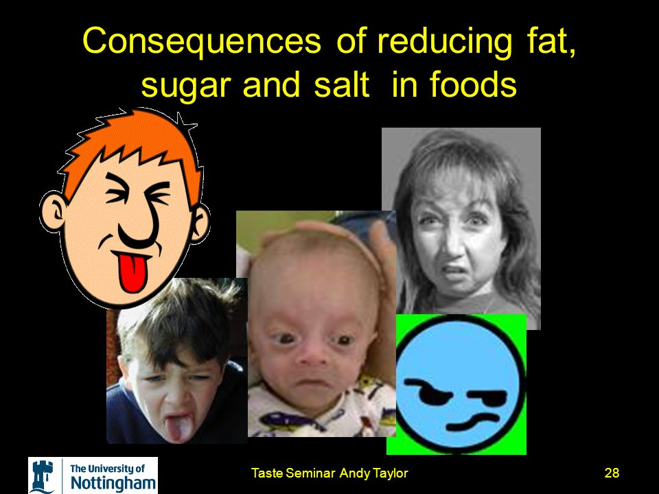 Taste Seminar Andy Taylor28 Consequences of reducing fat, sugar and salt in foods