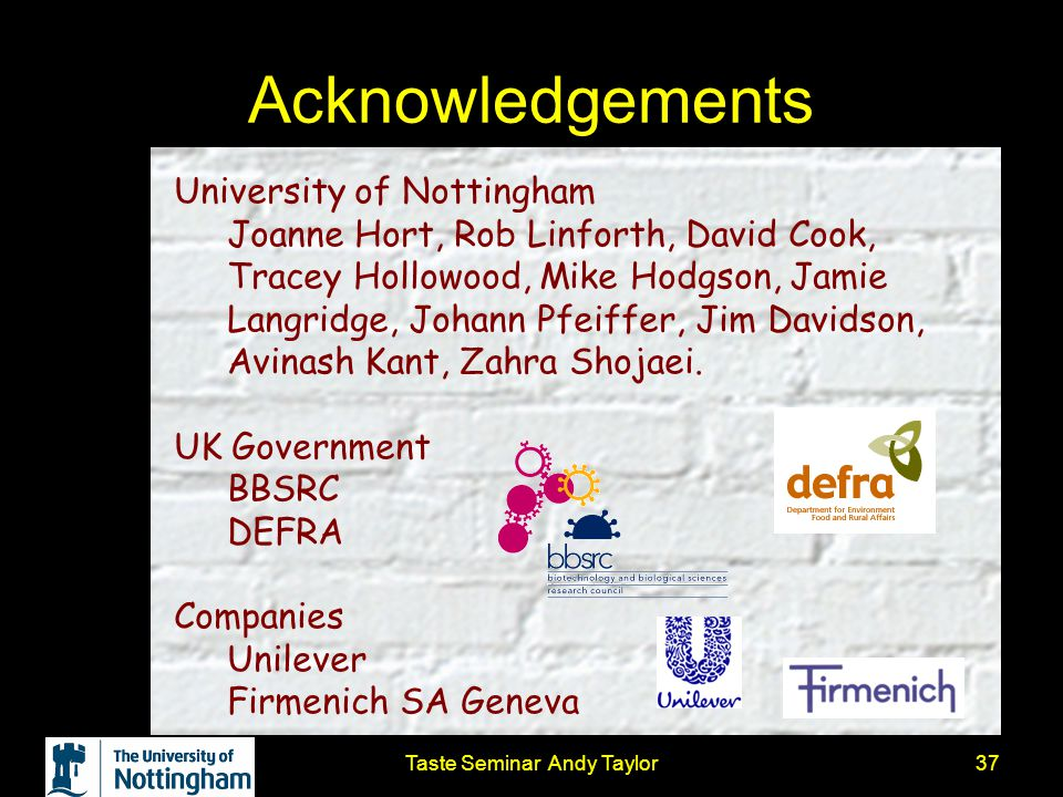 Taste Seminar Andy Taylor37 Acknowledgements University of Nottingham Joanne Hort, Rob Linforth, David Cook, Tracey Hollowood, Mike Hodgson, Jamie Lan