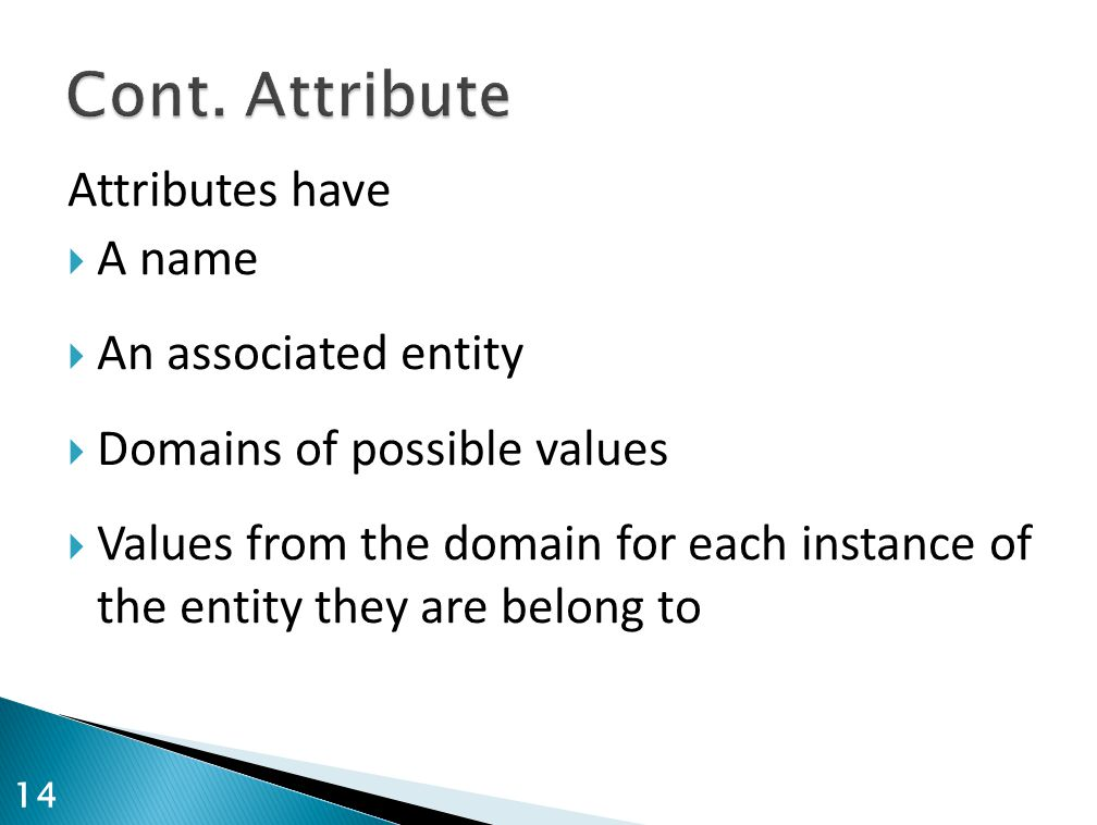 Attributes have  A name  An associated entity  Domains of possible values  Values from the domain for each instance of the entity they are belong