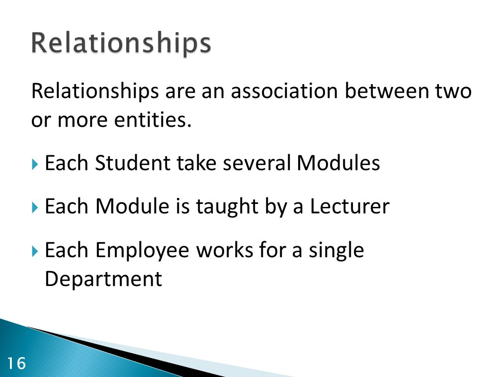 Relationships are an association between two or more entities.  Each Student take several Modules  Each Module is taught by a Lecturer  Each Employ