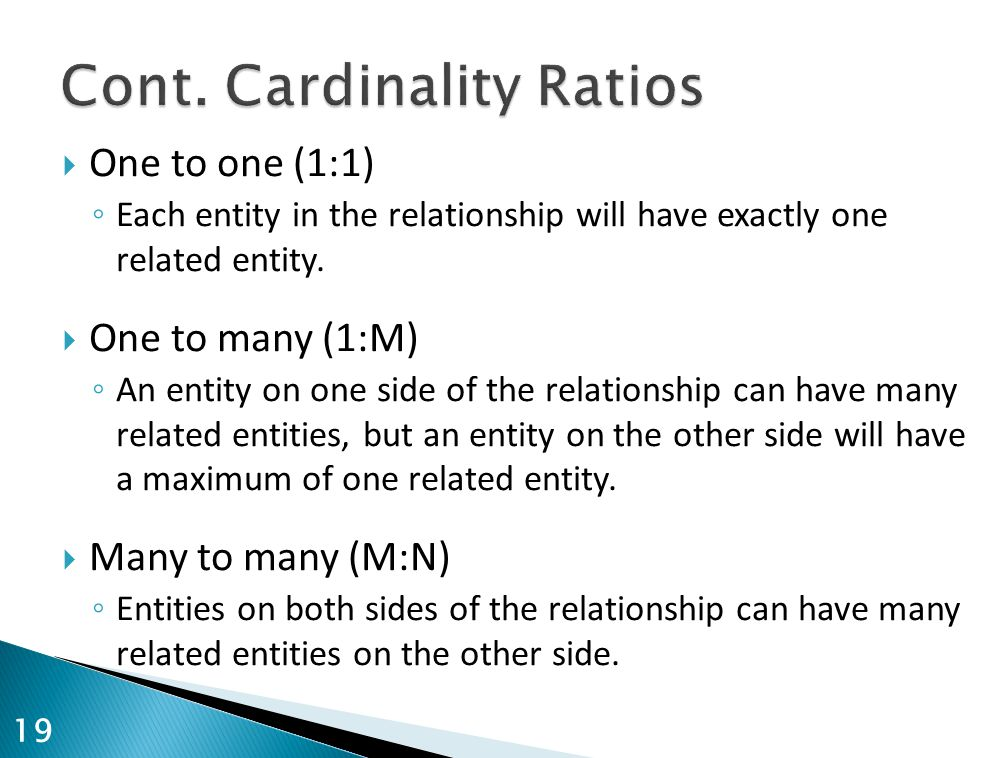  One to one (1:1) ◦ Each entity in the relationship will have exactly one related entity.