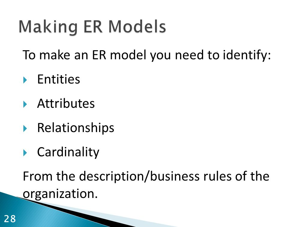 To make an ER model you need to identify:  Entities  Attributes  Relationships  Cardinality From the description/business rules of the organization.