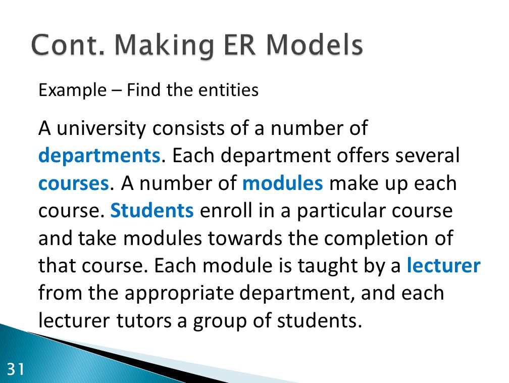 Example – Find the entities A university consists of a number of departments.