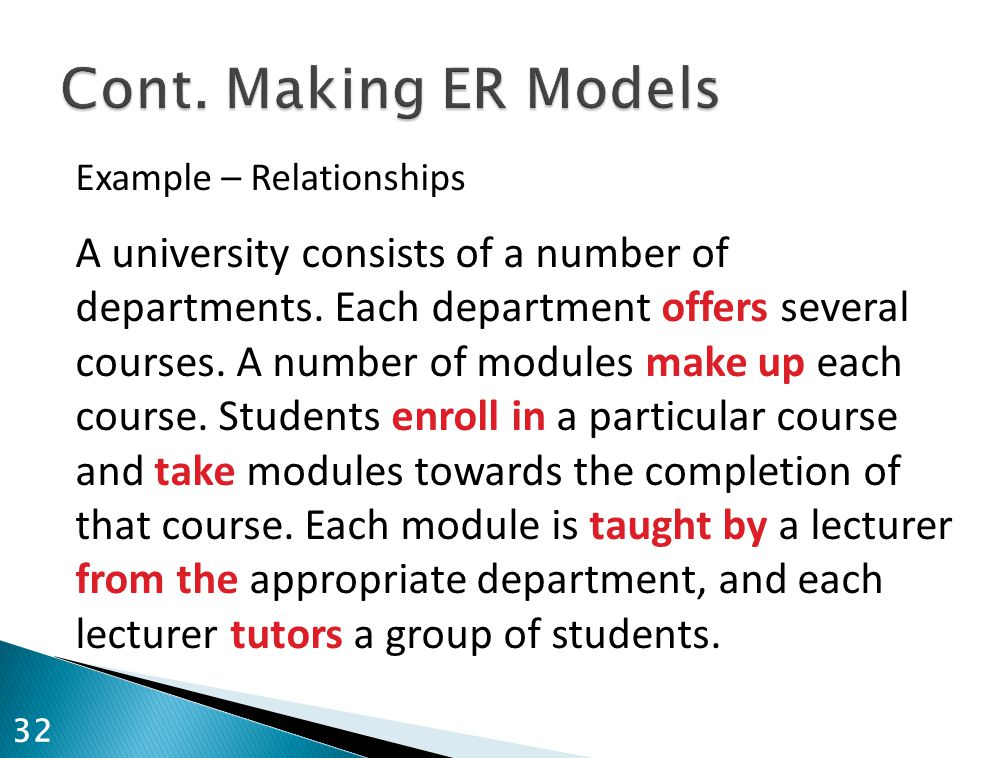 Example – Relationships A university consists of a number of departments. Each department offers several courses. A number of modules make up each cou