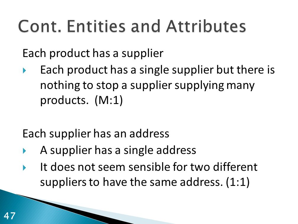 Each product has a supplier  Each product has a single supplier but there is nothing to stop a supplier supplying many products. (M:1) Each supplier