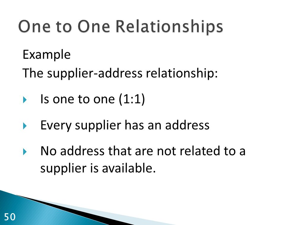 Example The supplier-address relationship:  Is one to one (1:1)  Every supplier has an address  No address that are not related to a supplier is av