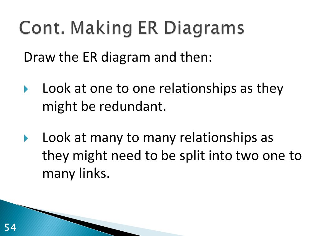 Draw the ER diagram and then:  Look at one to one relationships as they might be redundant.