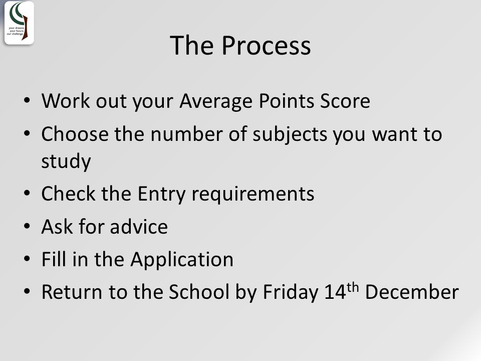 The Process Work out your Average Points Score Choose the number of subjects you want to study Check the Entry requirements Ask for advice Fill in the Application Return to the School by Friday 14 th December