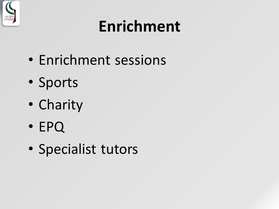 Enrichment Enrichment sessions Sports Charity EPQ Specialist tutors