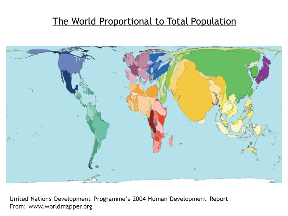 The World Proportional to Absolute Poverty (<$2 per day) United Nations Development Programme's 2004 Human Development Report From: www.worldmapper.org Low income countries: LIC