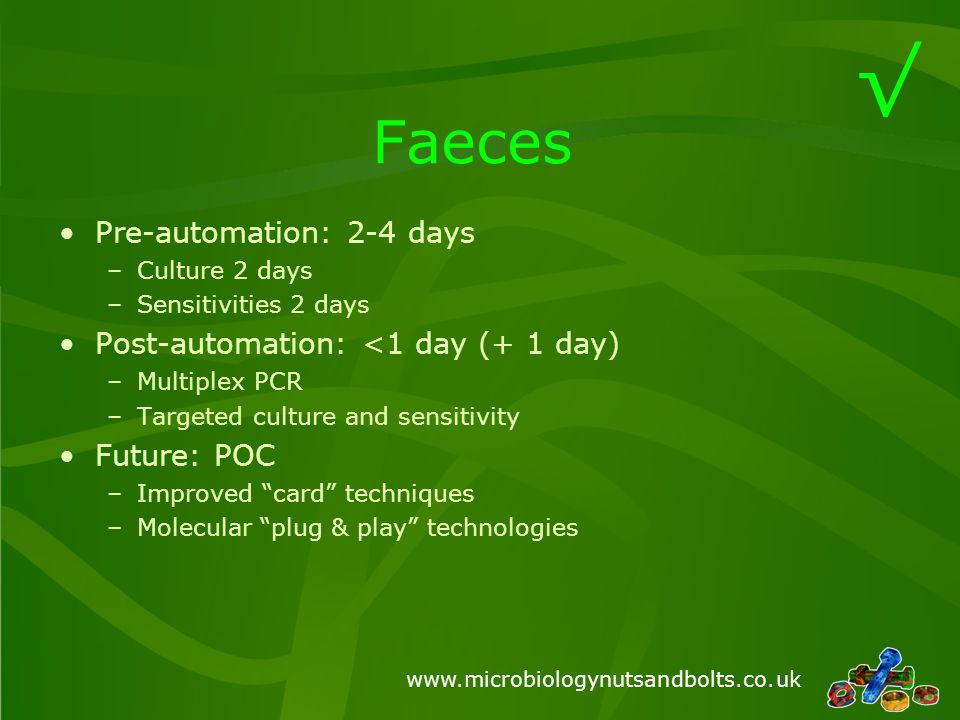 www.microbiologynutsandbolts.co.uk Sputum Pre-automation: 2-4 days –Culture 1-2 days –Identification and sensitivities 1-2 days Post-automation: 1-3 days –POC antigen testing for S.