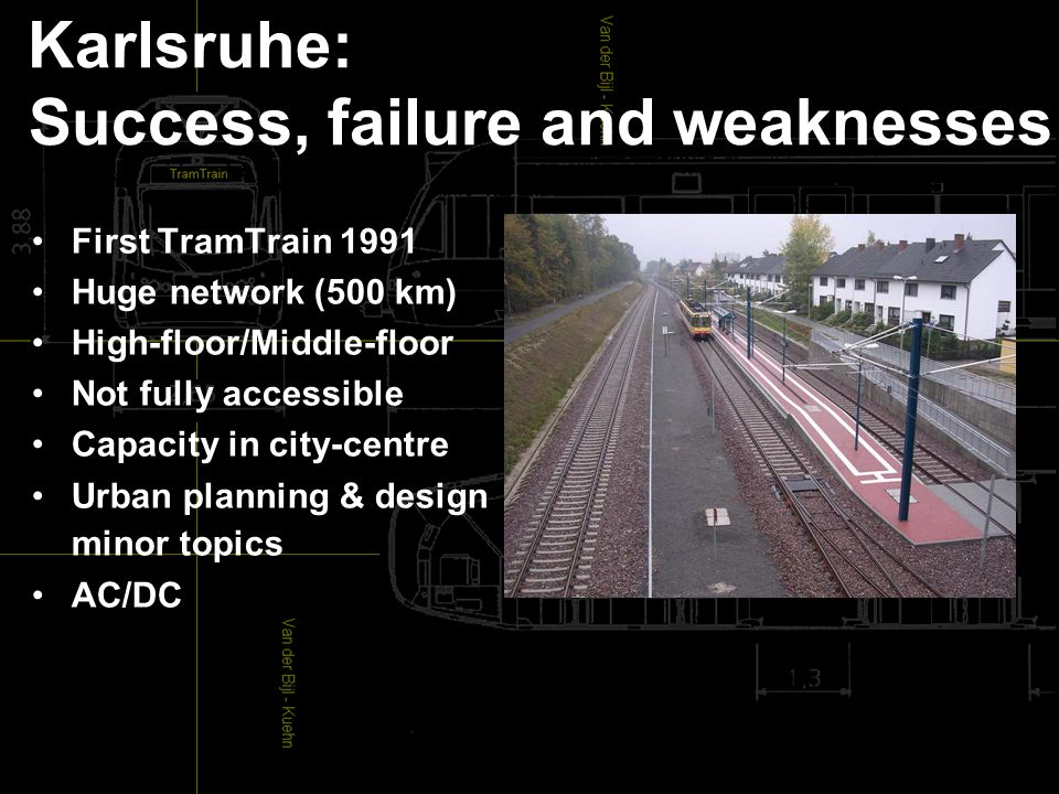 Karlsruhe: Success, failure and weaknesses First TramTrain 1991 Huge network (500 km) High-floor/Middle-floor Not fully accessible Capacity in city-centre Urban planning & design minor topics AC/DC
