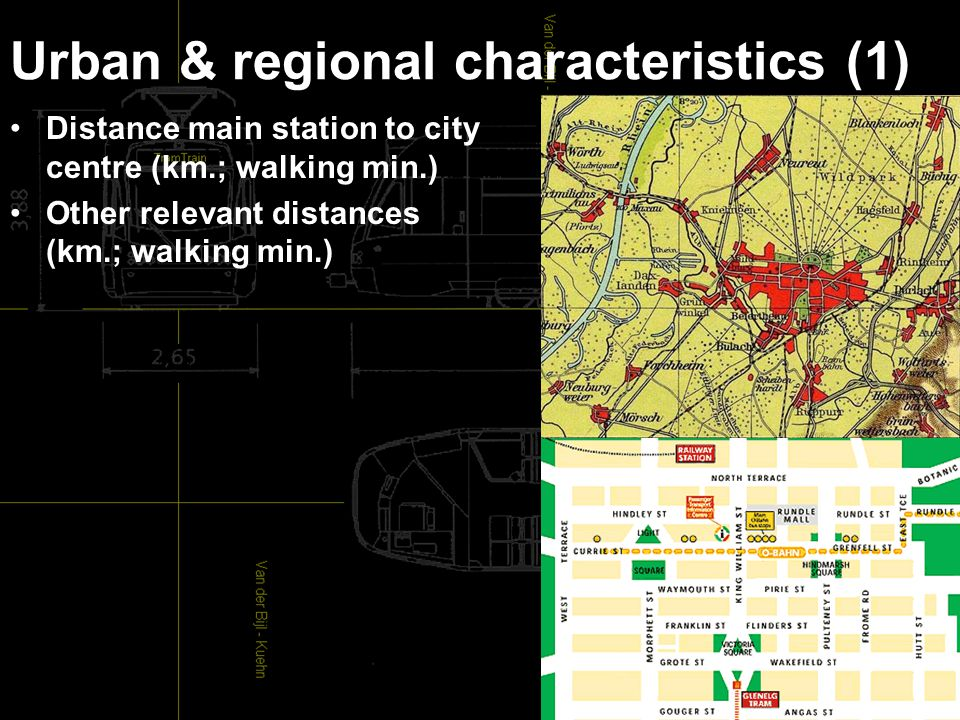 Urban & regional characteristics (1) Distance main station to city centre (km.; walking min.) Other relevant distances (km.; walking min.)