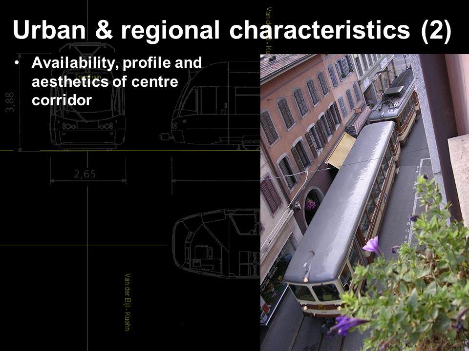 Urban & regional characteristics (2) Availability, profile and aesthetics of centre corridor