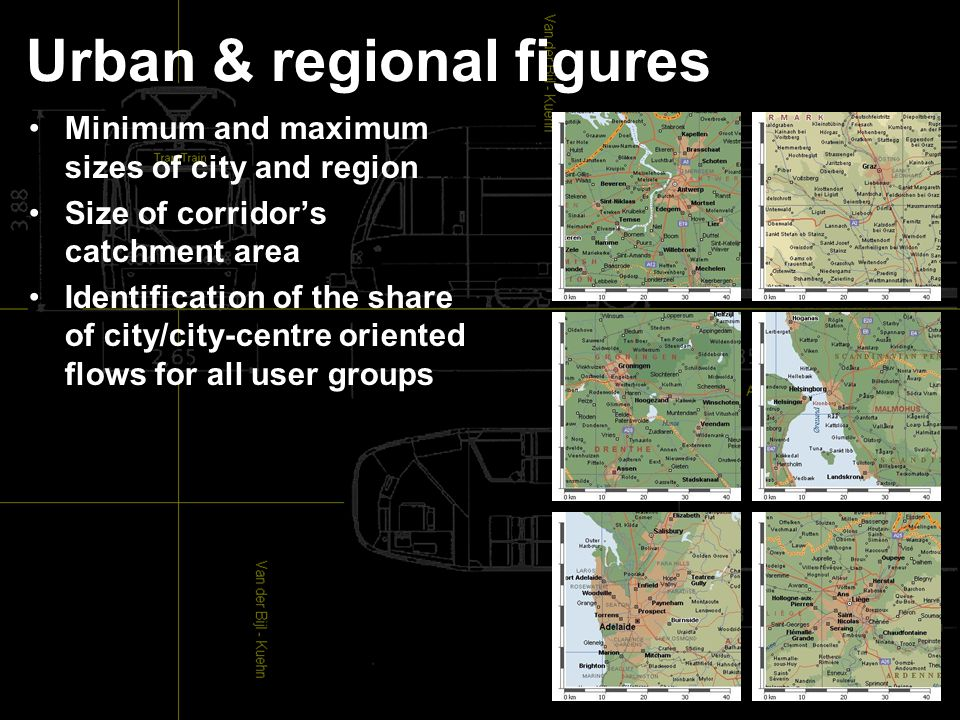 Urban & regional figures Minimum and maximum sizes of city and region Size of corridor's catchment area Identification of the share of city/city-centre oriented flows for all user groups