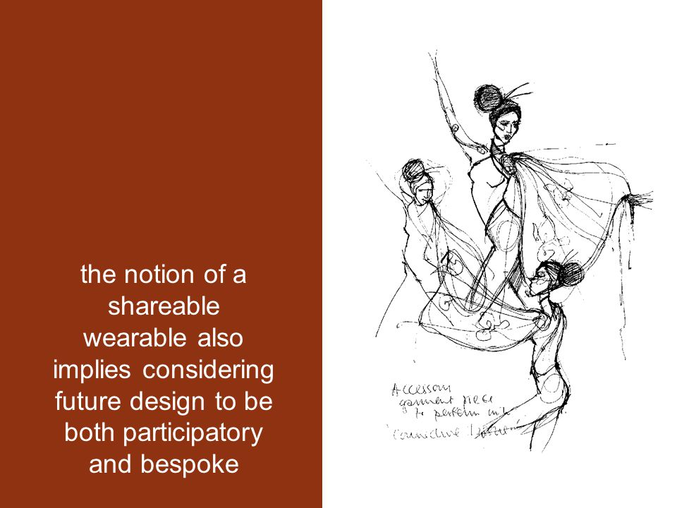 the notion of a shareable wearable also implies considering future design to be both participatory and bespoke