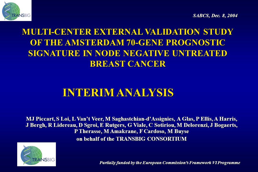 MULTI-CENTER EXTERNAL VALIDATION STUDY OF THE AMSTERDAM 70-GENE PROGNOSTIC SIGNATURE IN NODE NEGATIVE UNTREATED BREAST CANCER INTERIM ANALYSIS MJ Picc