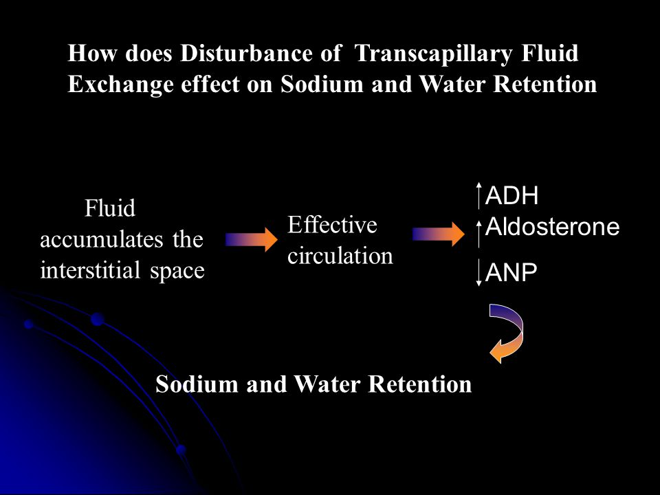 How does Disturbance of Transcapillary Fluid Exchange effect on Sodium and Water Retention Fluid accumulates the interstitial space Effective circulation Sodium and Water Retention ADH Aldosterone ANP