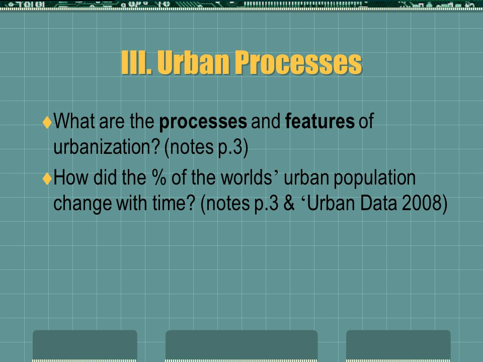 III. Urban Processes  What are the processes and features of urbanization.