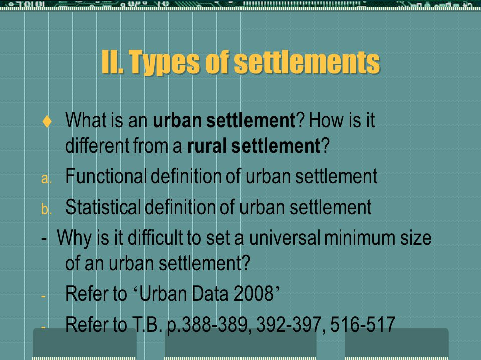 II. Types of settlements  What is an urban settlement .