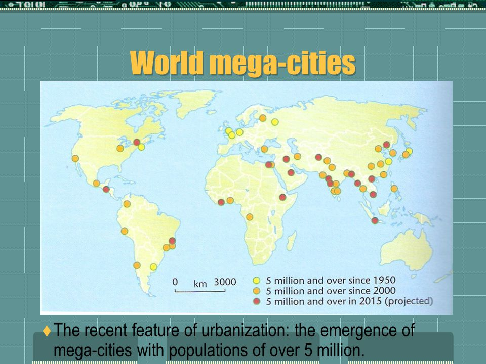 World mega-cities  The recent feature of urbanization: the emergence of mega-cities with populations of over 5 million.