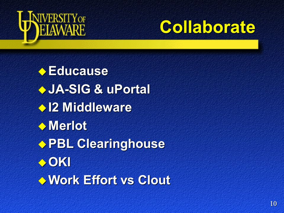 Collaborate  Educause  JA-SIG & uPortal  I2 Middleware  Merlot  PBL Clearinghouse  OKI  Work Effort vs Clout 10