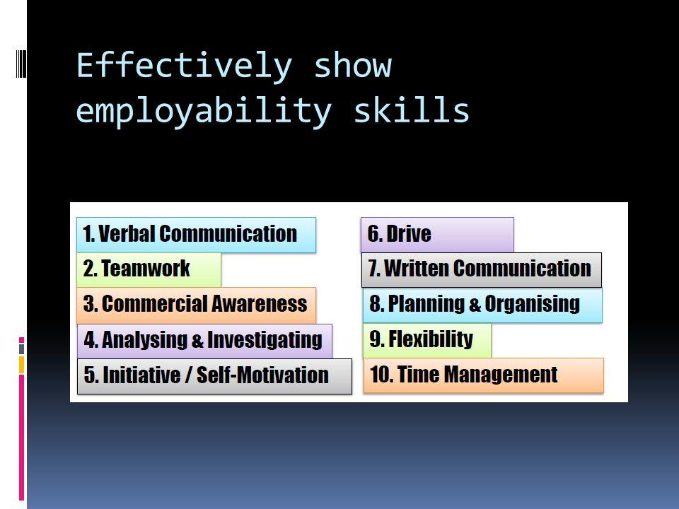 Effectively show employability skills