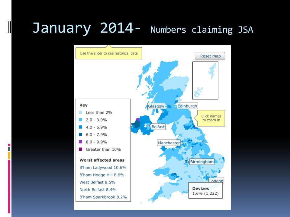 January 2014- Numbers claiming JSA
