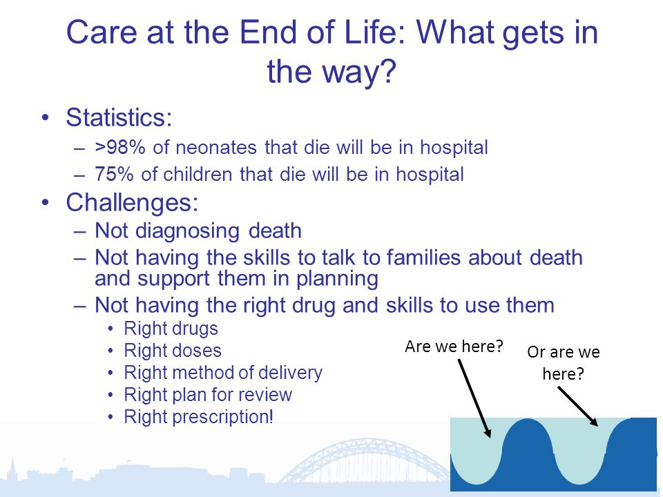 Rapid discharge pathway for end of life care Tool to help transfer a child to the preferred place of death Includes all areas needing to be considered Symptom control key component –Anticipatory prescribing of drugs likely to be required –Identification of who will prescribe drugs –Where they will come from –Who will administer them –And how –And what happens if the child doesn't die