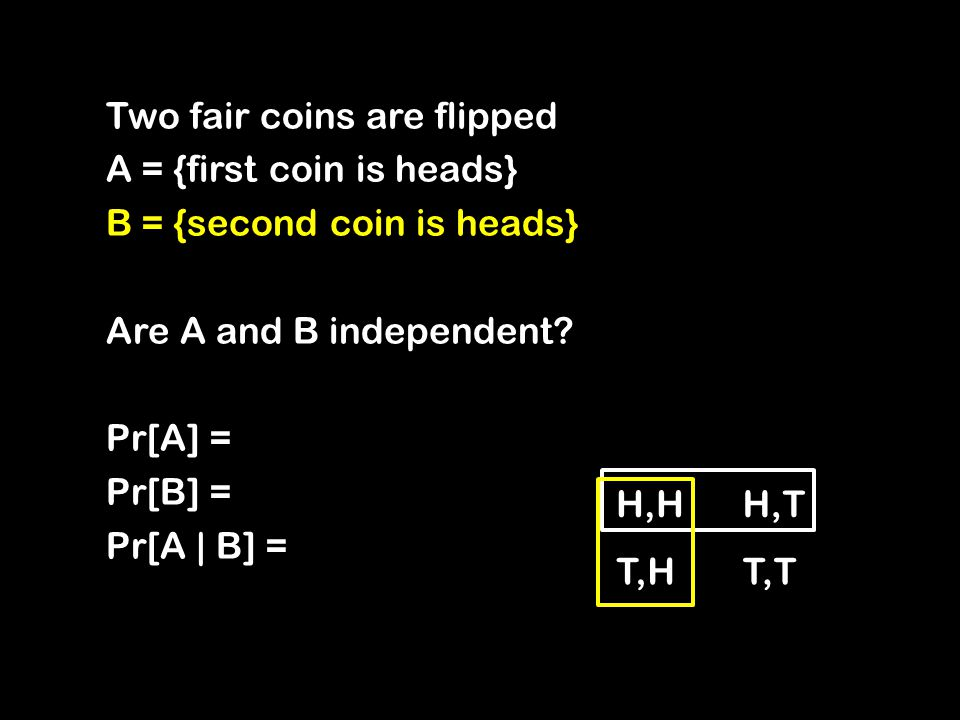 Two fair coins are flipped A = {first coin is heads} B = {second coin is heads} Are A and B independent.