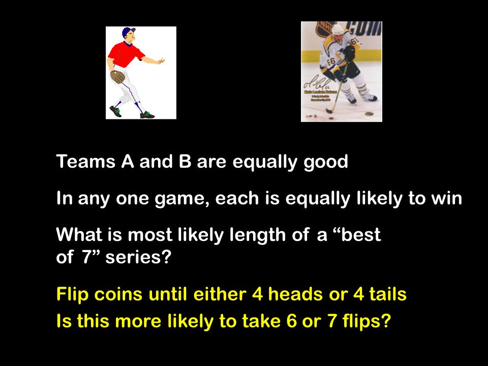 6 and 7 Are Equally Likely To reach either one, after 5 games, it must be 3 to 2 ½ chance it ends 4 to 2; ½ chance it doesn't