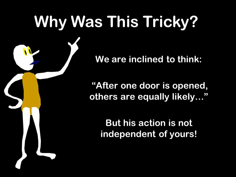 We are inclined to think: After one door is opened, others are equally likely… But his action is not independent of yours.