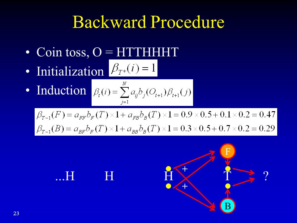 23 Backward Procedure Coin toss, O = HTTHHHT Initialization Induction...H H H T + + B F
